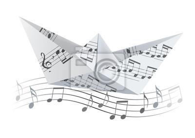 Bateau En Origami Sur La Vague Avec Des Notes De Musique Bateau Autocollants Murales Noter Concept Jouet Myloview Fr