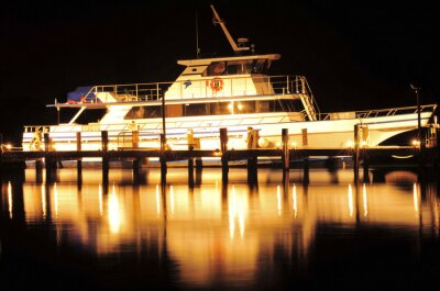 Sticker Bateau, nuit, bateau, reflet, Jupiter, Floride