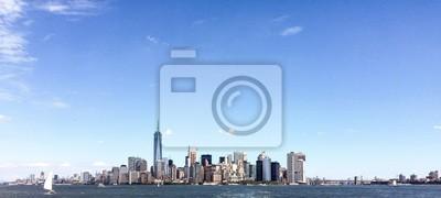 Bâtiment, od, Manhattan, bleu, ciel, Été, nouveau, York