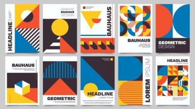 Sticker Bauhaus forms. Square tiles with modern geometric patterns with abstract figures and shapes. Contemporary graphic bauhaus design vector set. Circle, triangle and square lines art