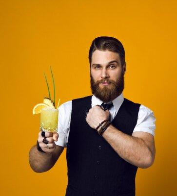 Sticker bearded barman with beard holding cocktail in waistcoat