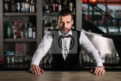 Sticker Beau barman s'appuyant sur le comptoir et en regardant la caméra