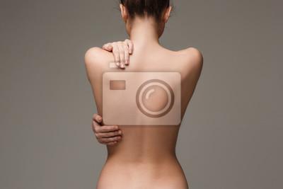 Sticker Beau, femme, corps, gris, fond