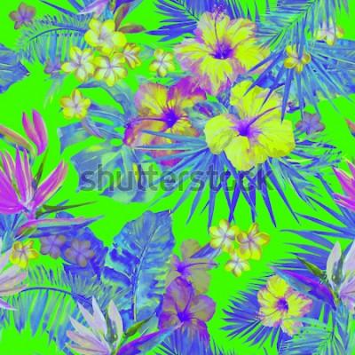 Sticker Beau motif tropical avec peinture de fleurs d'hibiscus et oiseau de paradis. Jolie illustration tropicale peinte avec plumeria, feuille de palmier et feuilles de bananier. Fond tropical de couleur