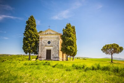 Sticker Beau, paysage, chapelle, Toscane, Italie