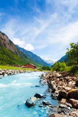 Sticker Beau paysage suisse avec le courant de la rivière