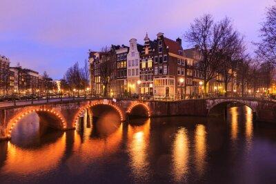 Sticker Beau, vue, Amsterdam, canaux, pont, typique, hollandais