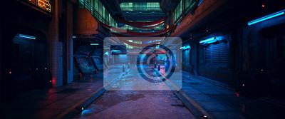 Sticker Beautiful neon night in a cyberpunk city. Photorealistic 3d illustration of the futuristic city. Empty street with blue neon lights.