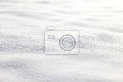 Sticker Beautiful sunny bright snow texture winter season copy space background. Selective focus used.