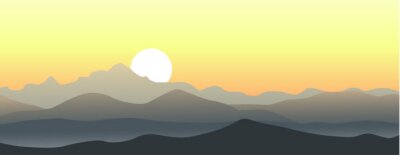 Sticker Beautiful sunset in the mountains. Horizontal vector landscape.
