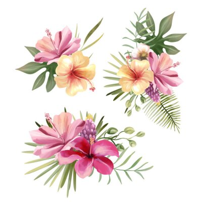 Sticker Beautiful tropical exotic flowers, floral bouquets, compositions, arrangement, wreaths watercolor illustration isolated on white