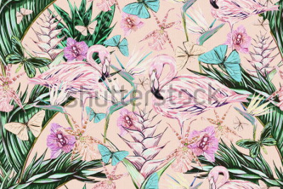 Sticker  Beautiful vintage seamless floral jungle pattern background. Colorful watercolor tropical flowers, palm leaves and plants, butterflies, bird of paradise flower with pink flamingos, exotic print