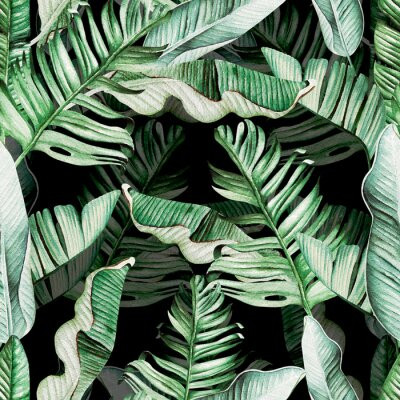 Sticker Beautiful watercolor seamless pattern with tropical leaves and banana leaves.