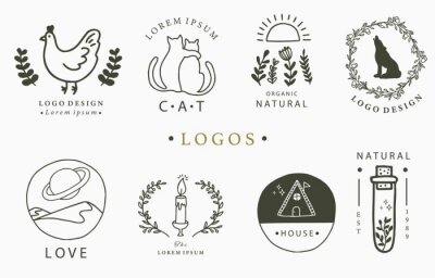 Sticker Beauty occult logo collection with hand, flower,house,cat,mountain.Vector illustration for icon,logo,sticker,printable and tattoo