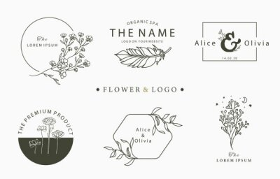 Sticker Beauty occult logo collection with tree,flower,feather.Vector illustration for icon,logo,sticker,printable and tattoo