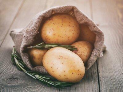 Sticker Bébé, pommes terre, sac, sac, romarin, bois, table, vendange, tonique
