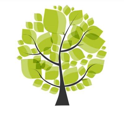 Sticker Bel arbre vert sur un fond blanc illustration vectorielle.