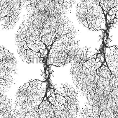 Sticker Belle branche d'arbre sans feuilles. Texture transparente Motif répété. Arbre d'automne. Bon fond d'origine pour votre blog.