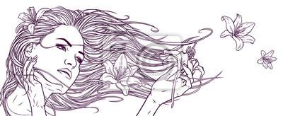 Belle fille avec les cheveux longs et fleurs de lys.