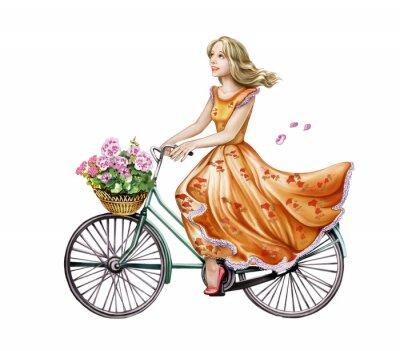 Sticker belle fille dans une robe sur un vélo