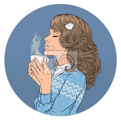 Belle fille et une tasse de café.