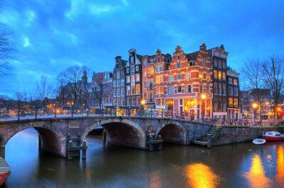 Sticker Belle longue exposition image HDR de l'Brouwersgracht à Amsterdam, aux Pays-Bas, un site du patrimoine mondial de l'UNESCO.