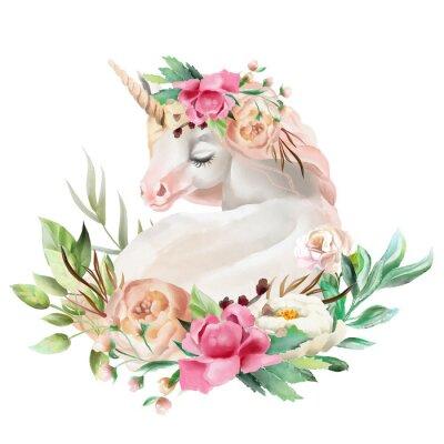 Sticker Belle, mignon, aquarelle rêvant Licorne avec des fleurs, bouquet floral isolé sur blanc