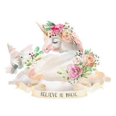 Sticker Belle, mignon, aquarelle rêvant Licorne sur le nuage avec des fleurs, bouquet floral, pigeon et ruban avec citation isolé sur blanc