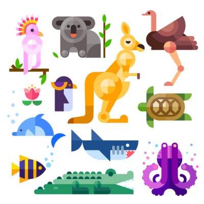 Sticker Belles animaux australiens plats: Kakadu, kangourous, perroquets, koala, l'émeu, l'autruche, dauphins, pingouins, tortues, requins, poissons clown, crocodile, poulpe. Plat illustration vectorielle rég