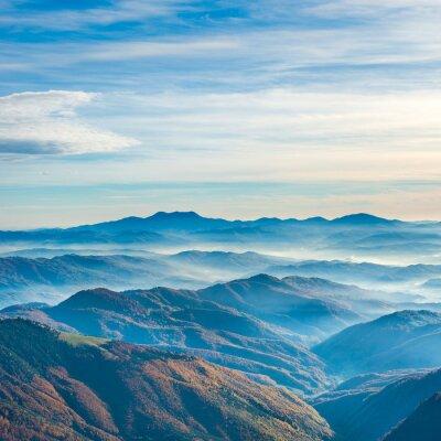 Sticker Belles montagnes et collines bleues
