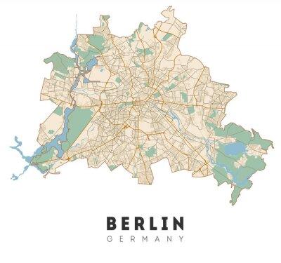 Sticker Berlin map. Detailed poster city map Berlin. Germany