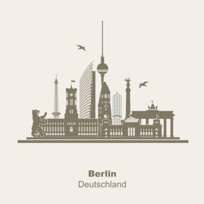 Sticker Berlin Silhouette Logo Umriss Schattenriss Fernseturm Funkturm Berliner Bär, visite touristique, Brandenburger Tor Rotes Rathaus Potzdamer Platz Siegessäule Gedächtniskirche Reichstag
