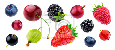 Sticker Berries collection isolated on white background with clipping path