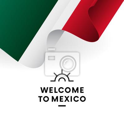 Bienvenue à Mexico Drapeau Du Mexique Conception Patriotique