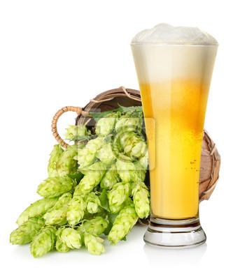 Bière légère et hop dans le panier
