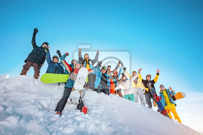 Sticker Big group of skiers and snowboarders at ski resort