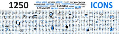 Sticker Big set 1250 icons: business, shopping, device, technology, medical, ecology, crypto, e-commerce, social media, management, arrow, food & drink and many more for any cases of life using – vector