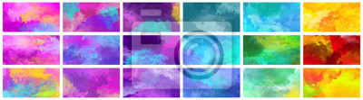 Sticker Big set of bright colorful watercolor background textures