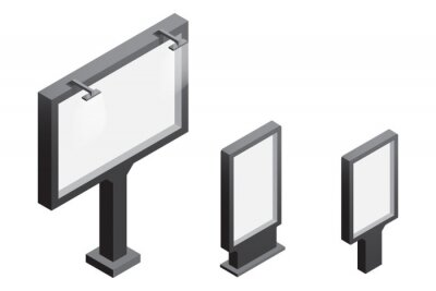 Sticker Billboard and light box isometric