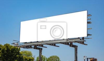 Sticker Billboard blank on a highway for advertisement, spring sunny day