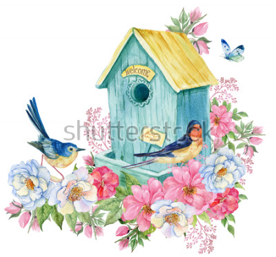 Sticker Bird House, hirondelle et oiseau bleu, papillon. Illustration aquarelle carte printemps
