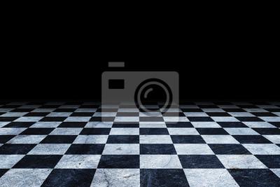 Sticker Black And White Checker floor Grunge Room. Checker floor empty space
