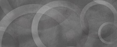 Sticker Black and white geometric rings and circles in faded grunge rough texture background design