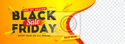 Sticker Black Friday sale website banner design with space for your product image.