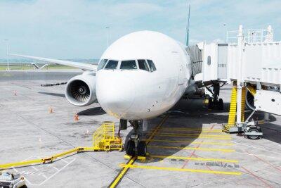 Sticker Blanc, avion, tablier, nuageux, ciel