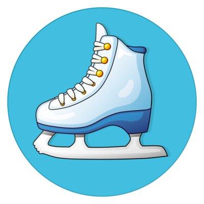 Sticker Blanc, glace, patin, bleu, fond, rond, icône