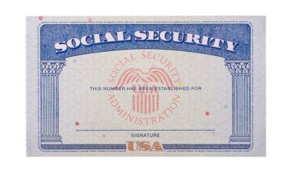 Sticker Blank and empty unfilled USA social security card isolated against a white background