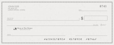 Sticker Blank bank check template. Fake cheque page mockup.