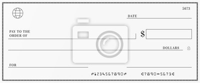 Sticker Blank template of the bank check. Checkbook cheque page with empty fields to fill.