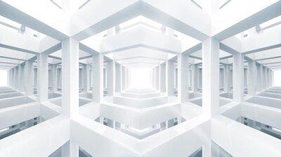 Bleu abstrait architecture 3d. L'espace intérieur de devancer